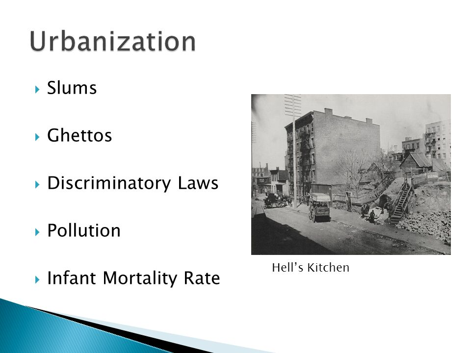 Urbanization Slums Ghettos Discriminatory Laws Pollution