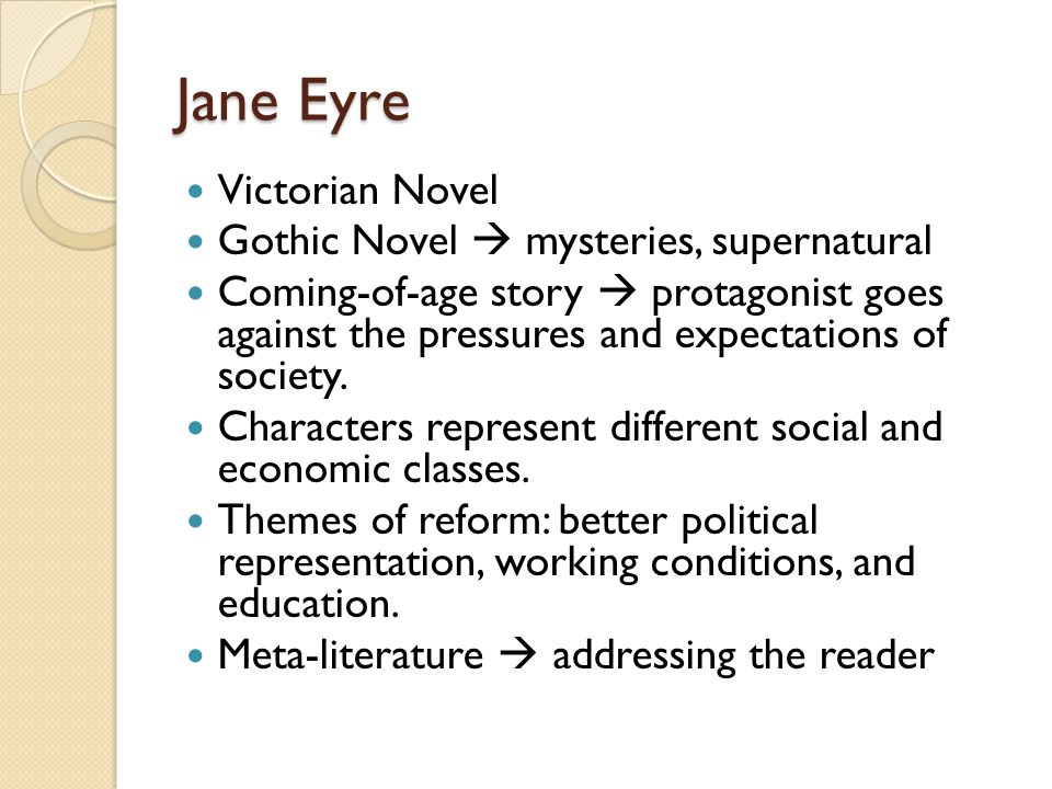 Jane Eyre Victorian Novel Gothic Novel  mysteries, supernatural