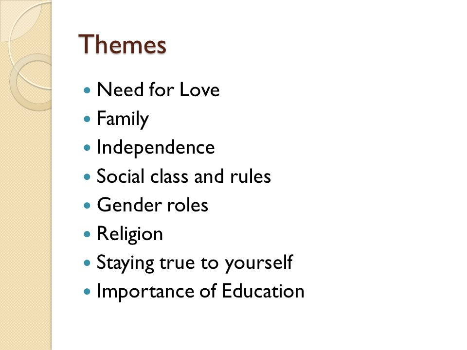 Themes Need for Love Family Independence Social class and rules