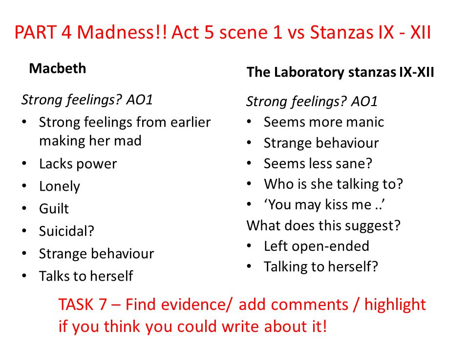 PART 4 Madness!! Act 5 scene 1 vs Stanzas IX - XII