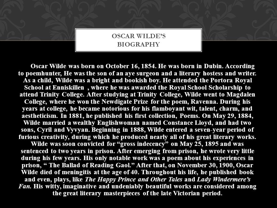 Oscar Wilde's biography