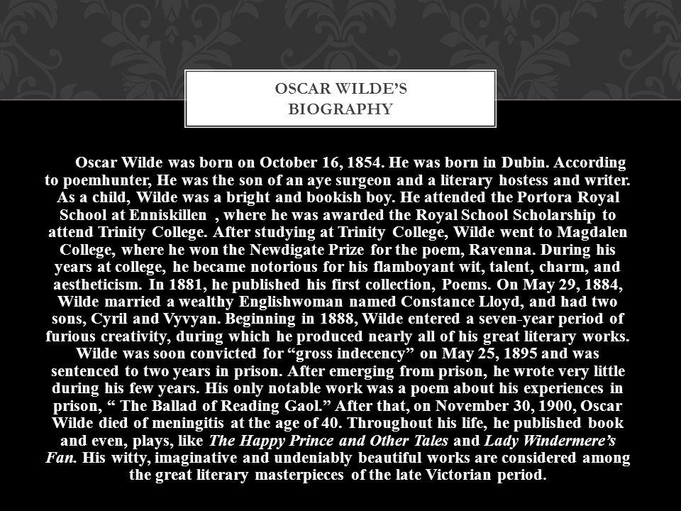 Oscar Wilde's biography