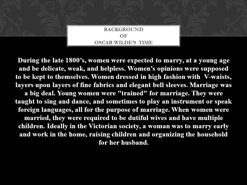 Background of oscar wilde's time