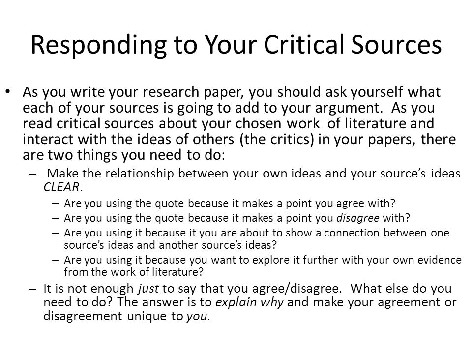 Responding to Your Critical Sources