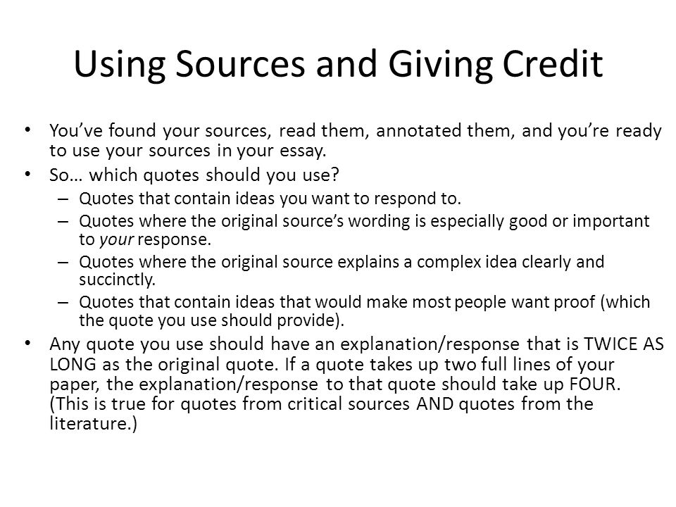 Using Sources and Giving Credit
