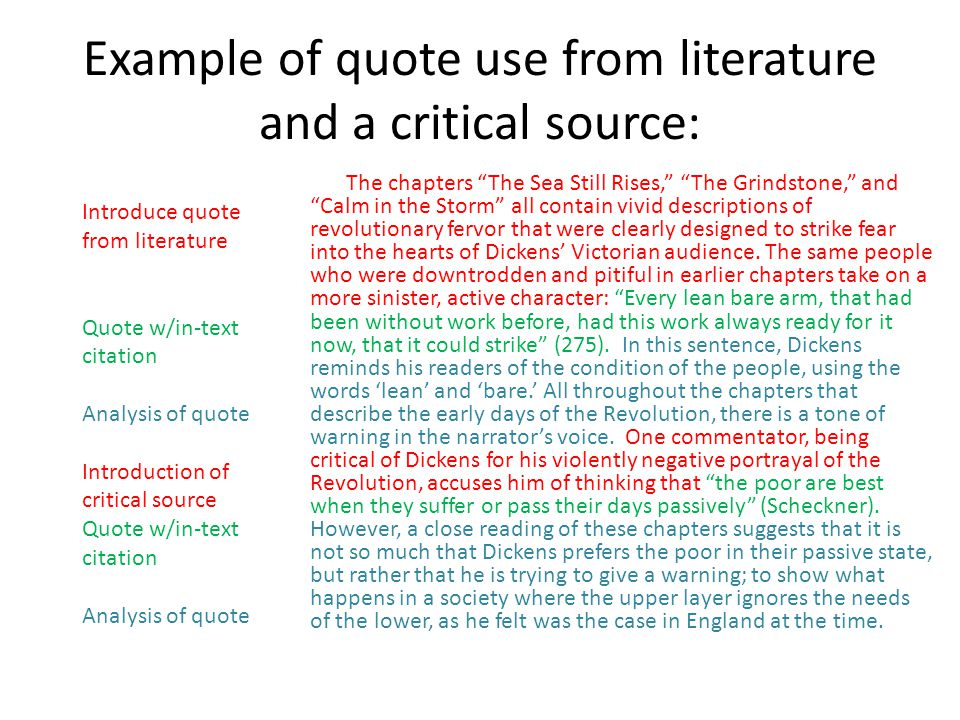 Example of quote use from literature and a critical source: