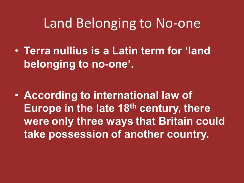 Land Belonging to No-one