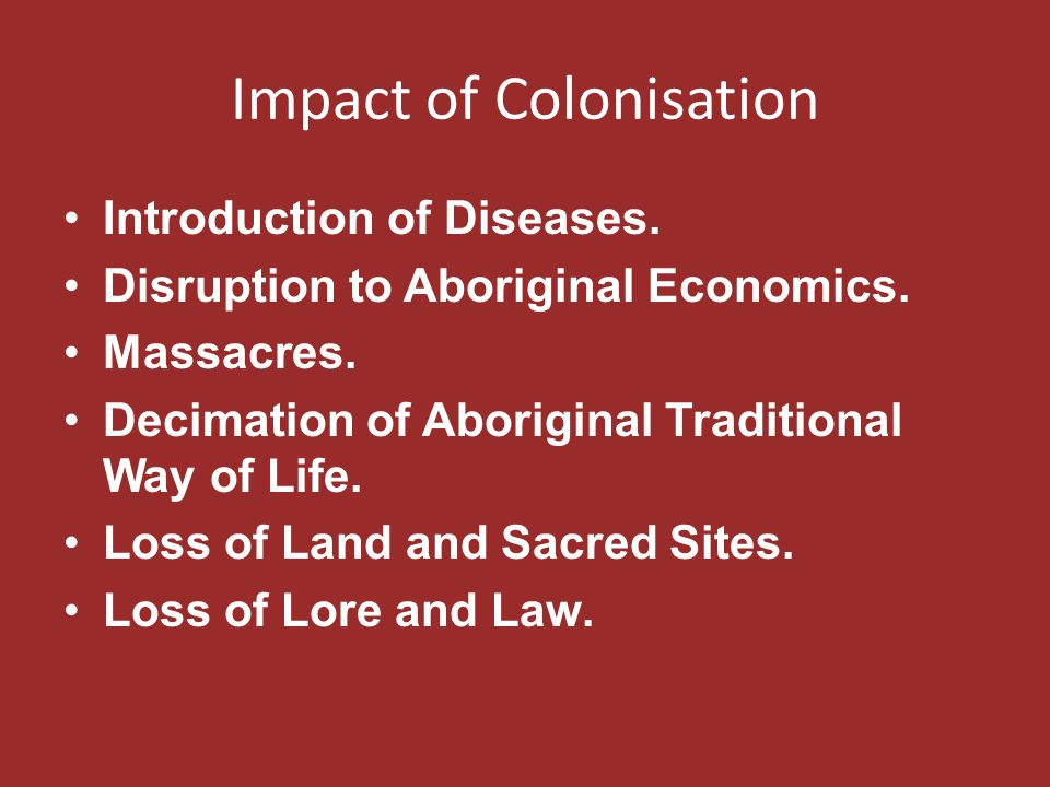 Impact of Colonisation