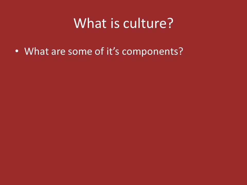 What is culture What are some of it's components