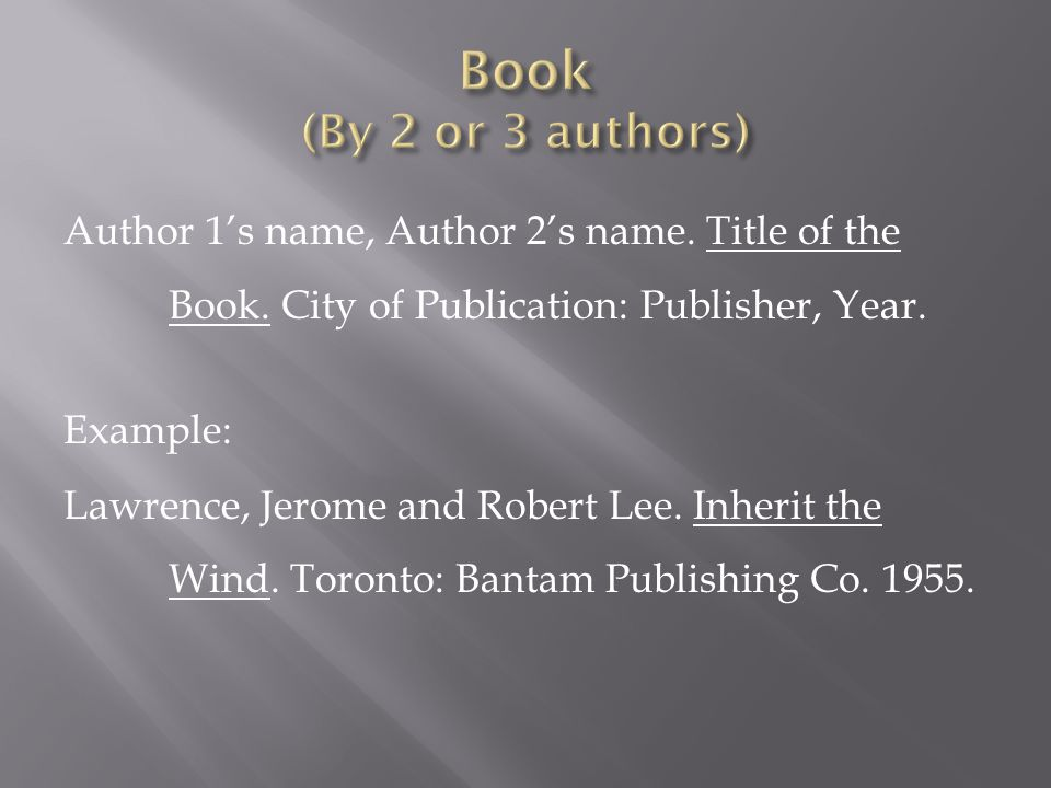 Book (By 2 or 3 authors)