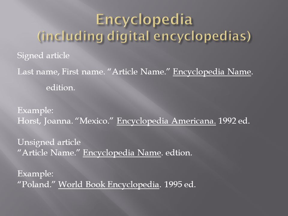 Encyclopedia (including digital encyclopedias)
