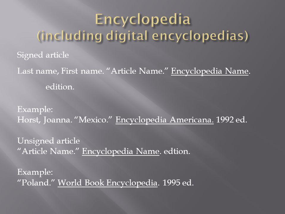 Encyclopedia (including digital encyclopedias)