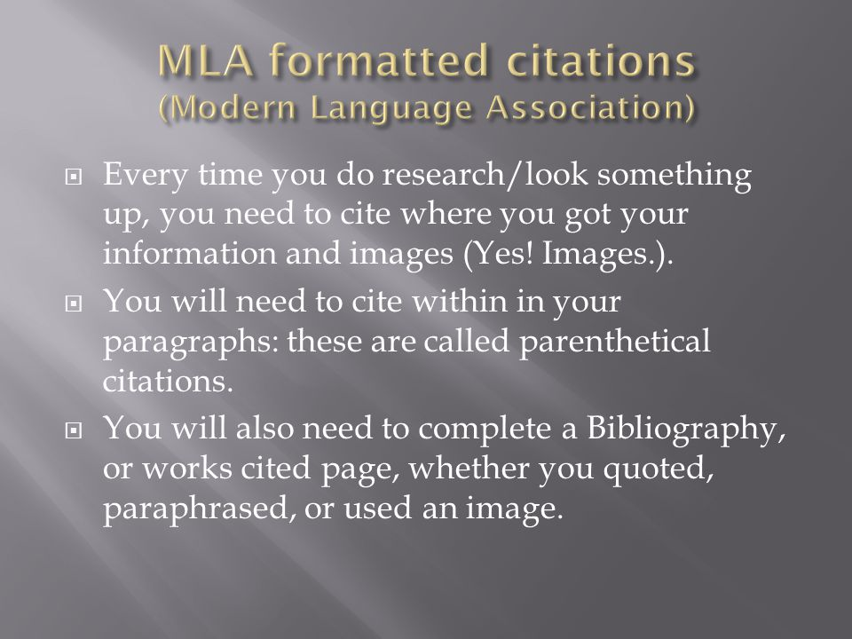 MLA formatted citations (Modern Language Association)