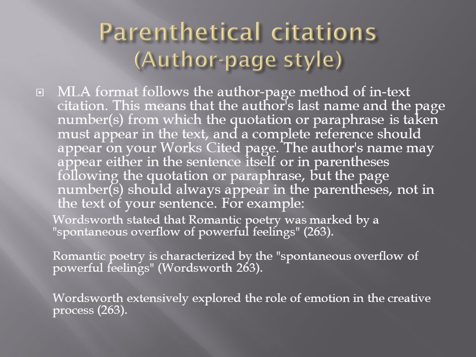 Parenthetical citations (Author-page style)