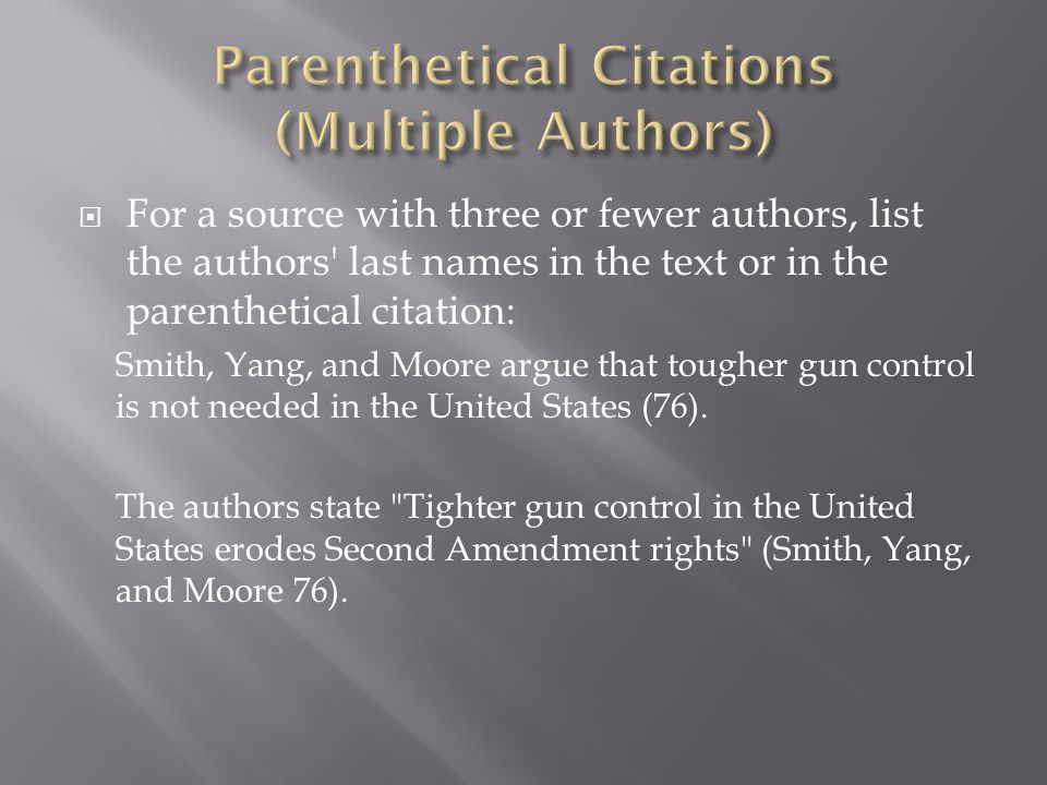 Parenthetical Citations (Multiple Authors)