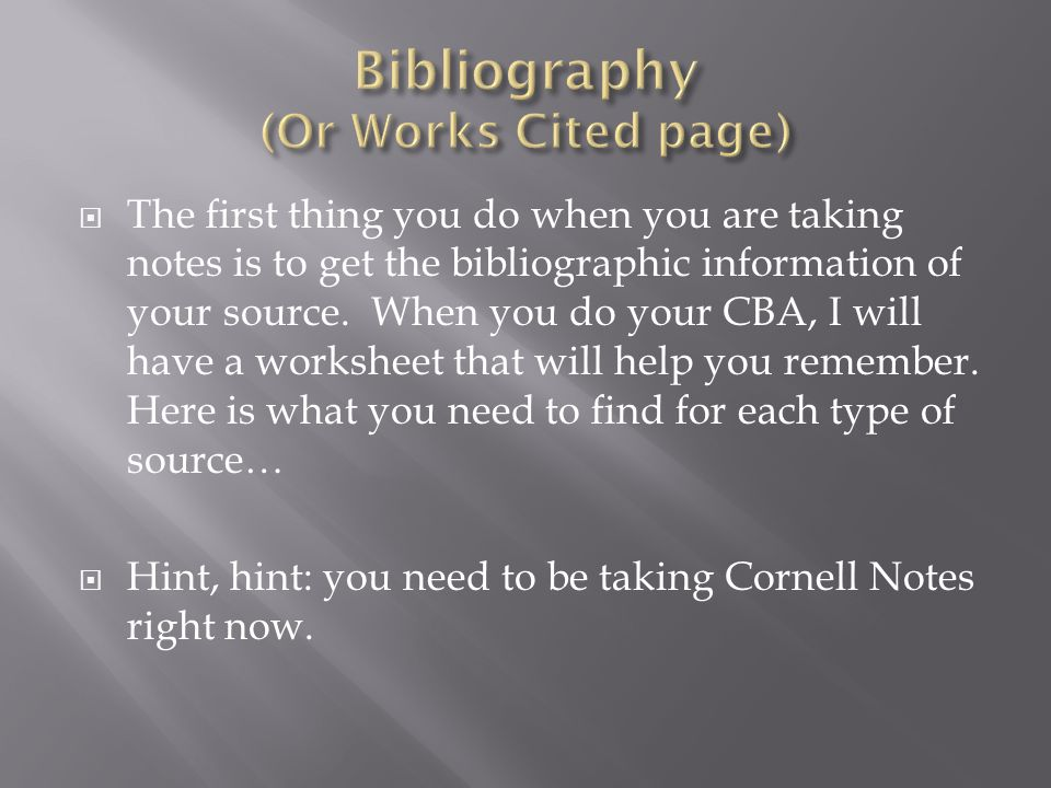 Bibliography (Or Works Cited page)