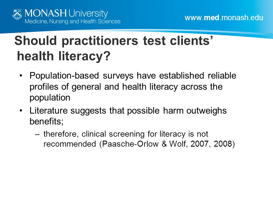 Should practitioners test clients' health literacy