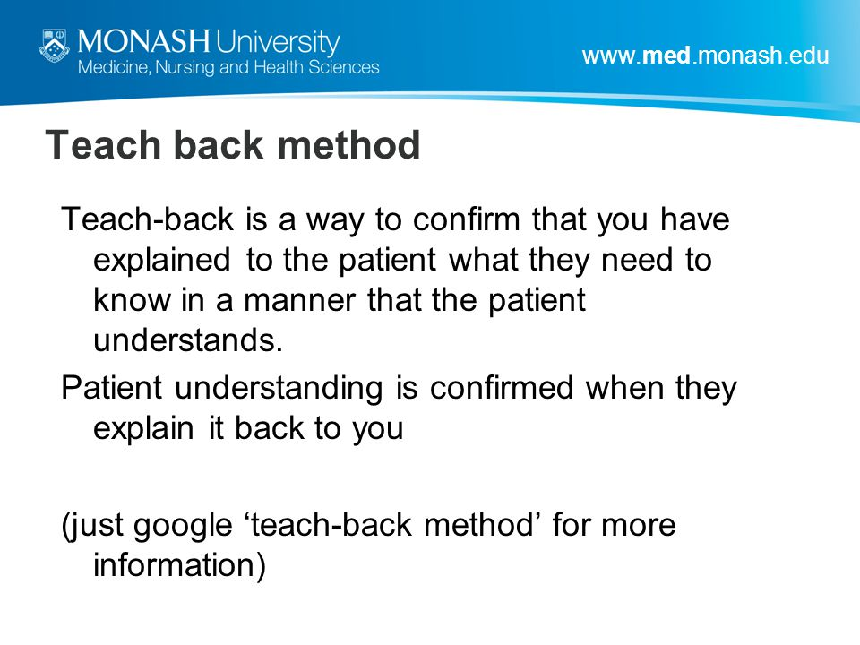 Teach back method