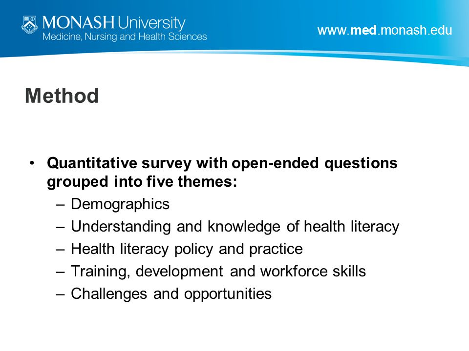 Method Quantitative survey with open-ended questions grouped into five themes: Demographics. Understanding and knowledge of health literacy.