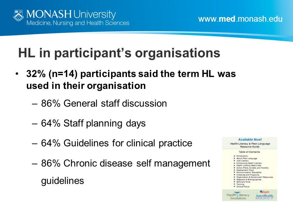 HL in participant's organisations