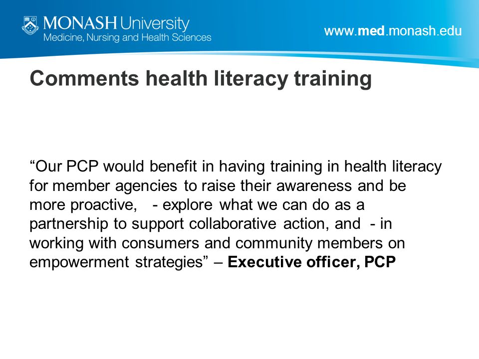 Comments health literacy training
