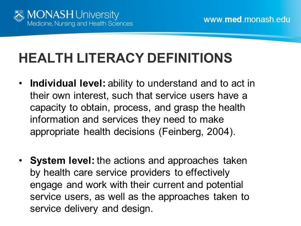 HEALTH LITERACY DEFINITIONS