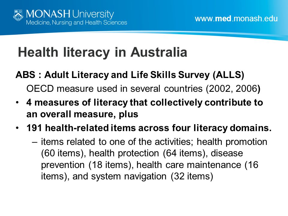 Health literacy in Australia