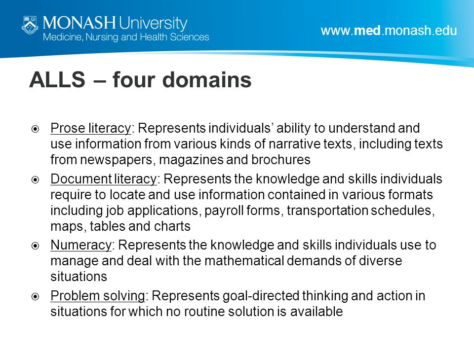 ALLS – four domains