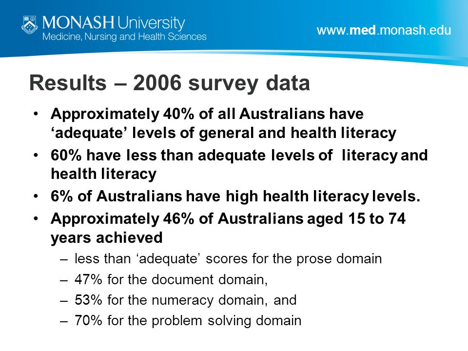 Results – 2006 survey data Approximately 40% of all Australians have 'adequate' levels of general and health literacy.