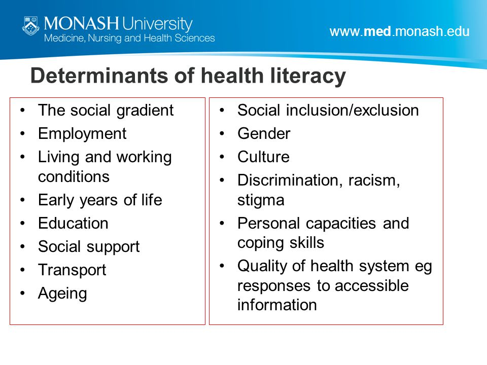 Determinants of health literacy