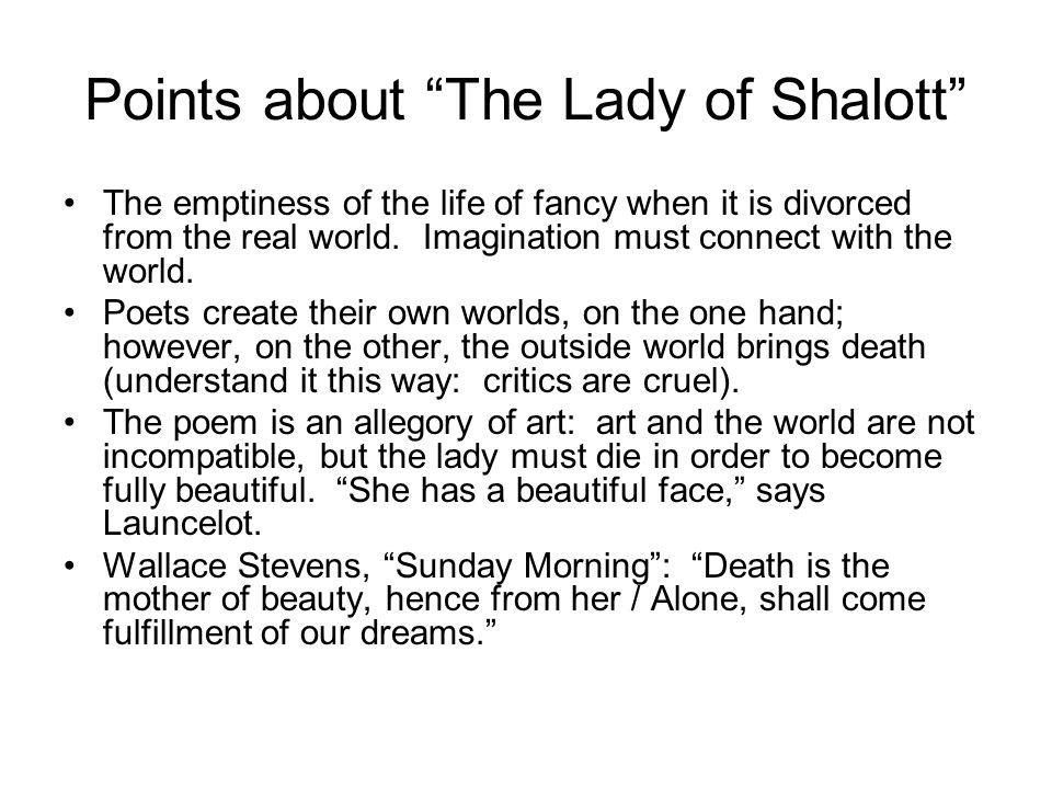 Points about The Lady of Shalott
