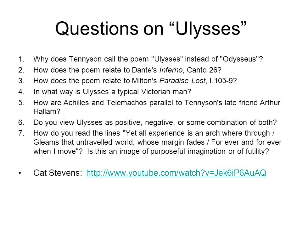 Questions on Ulysses