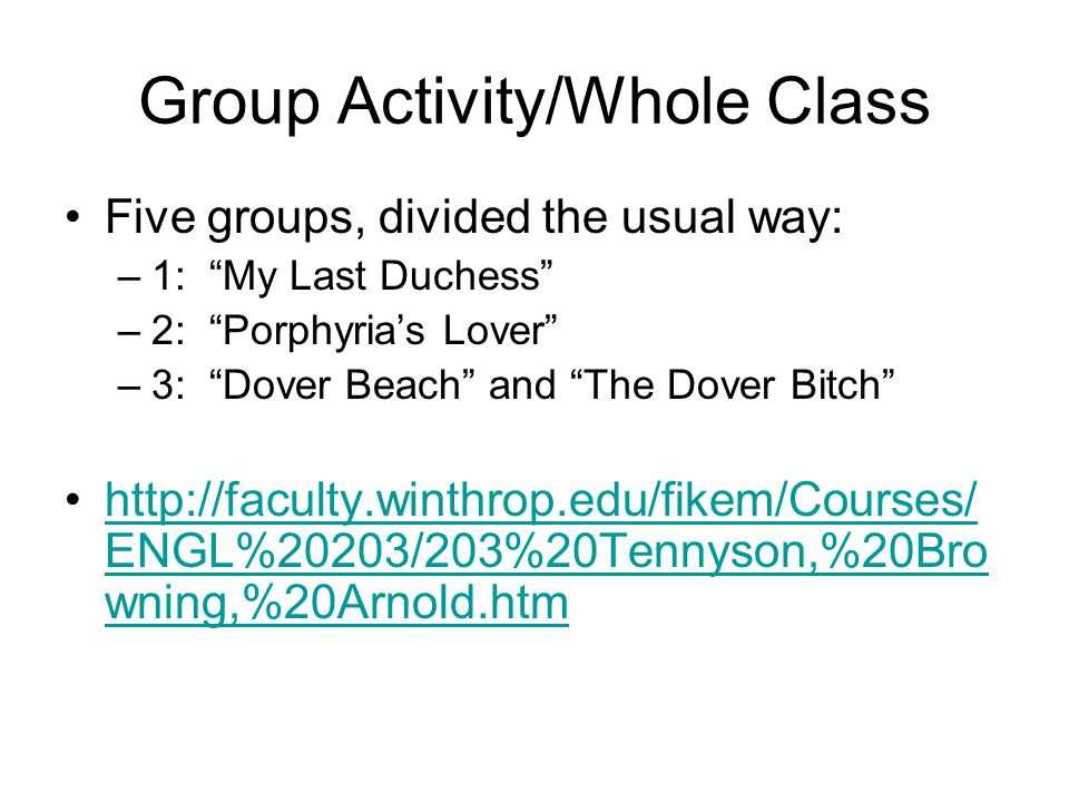 Group Activity/Whole Class