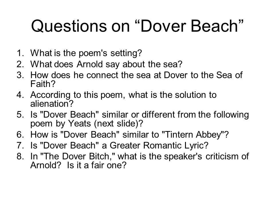 Questions on Dover Beach