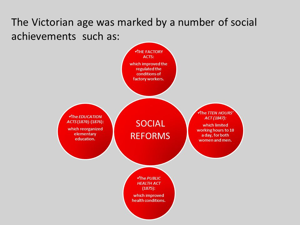 The Victorian age was marked by a number of social achievements such as:
