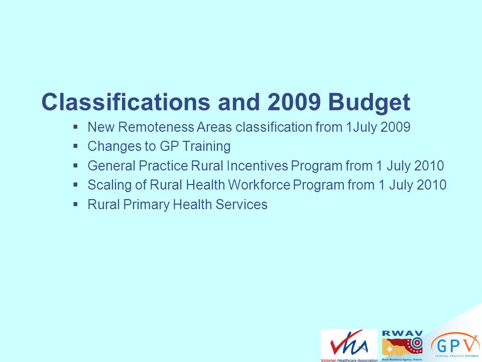 Classifications and 2009 Budget