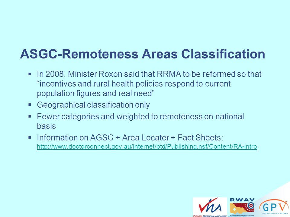 ASGC-Remoteness Areas Classification