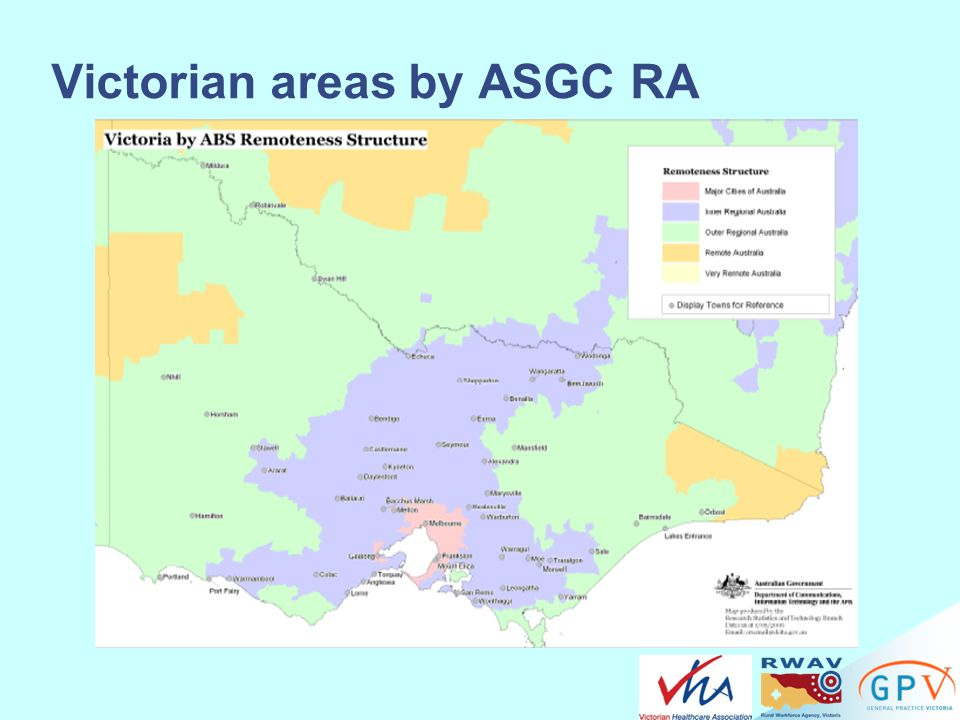 Victorian areas by ASGC RA