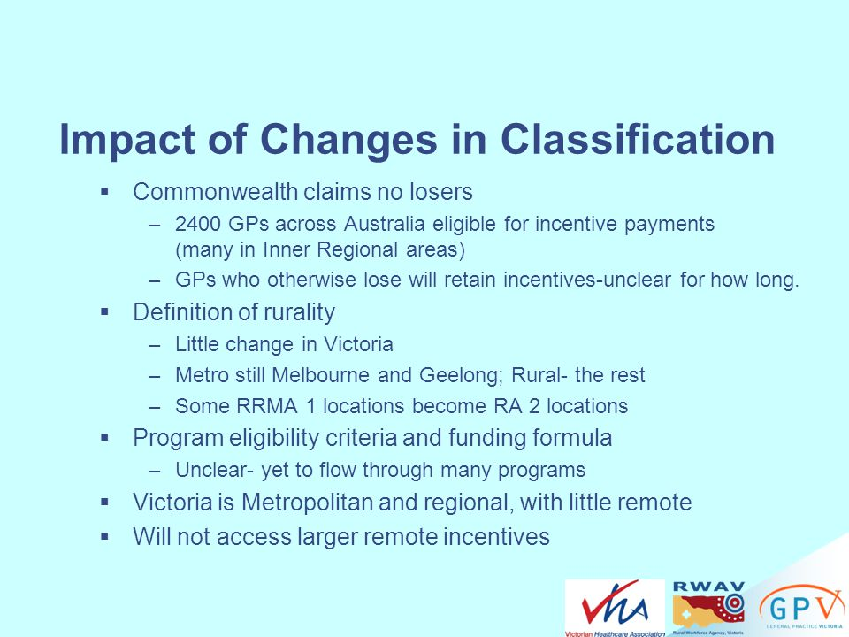 Impact of Changes in Classification
