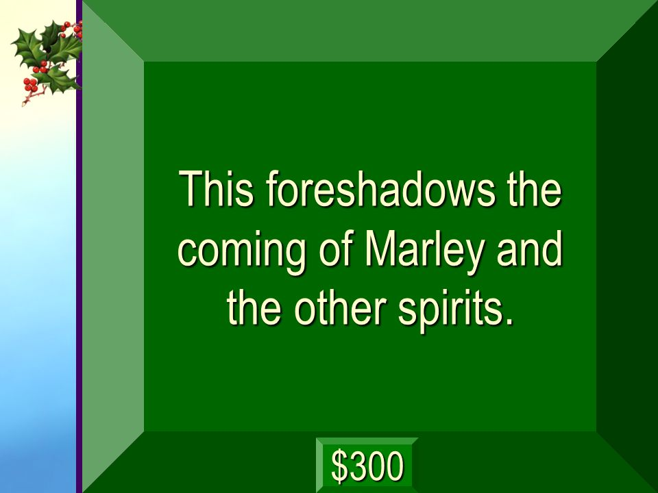 This foreshadows the coming of Marley and the other spirits.