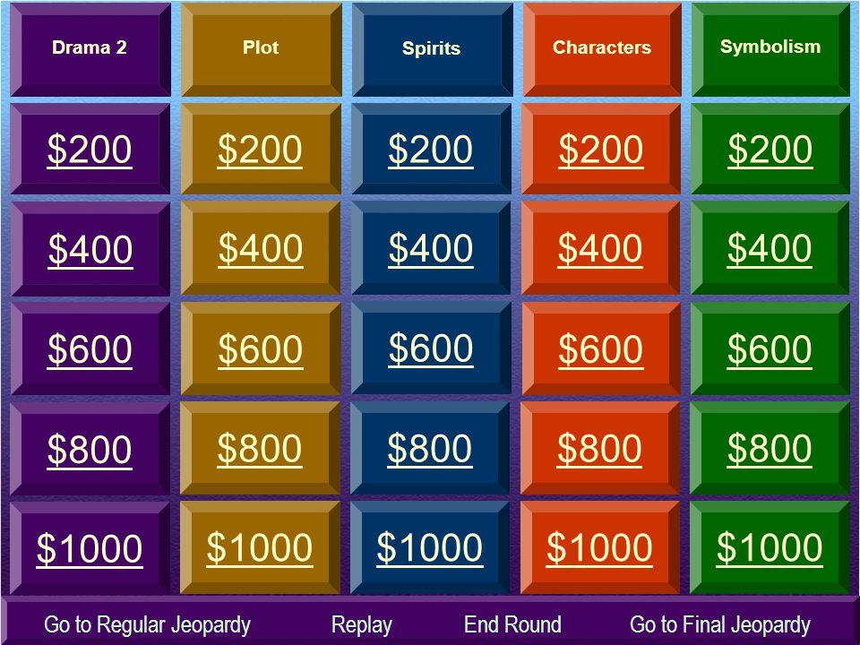 Drama 2 Plot. Spirits. Characters. Symbolism. $200. $200. $200. $200. $200. $400. $400. $400.