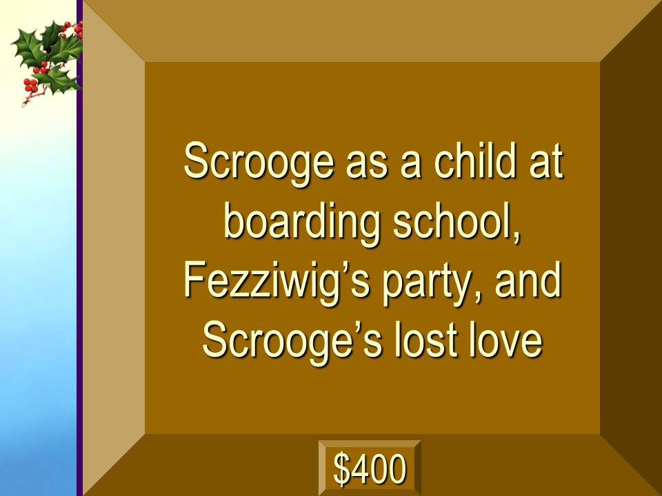 Scrooge as a child at boarding school, Fezziwig's party, and Scrooge's lost love