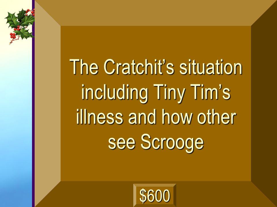 The Cratchit's situation including Tiny Tim's illness and how other see Scrooge