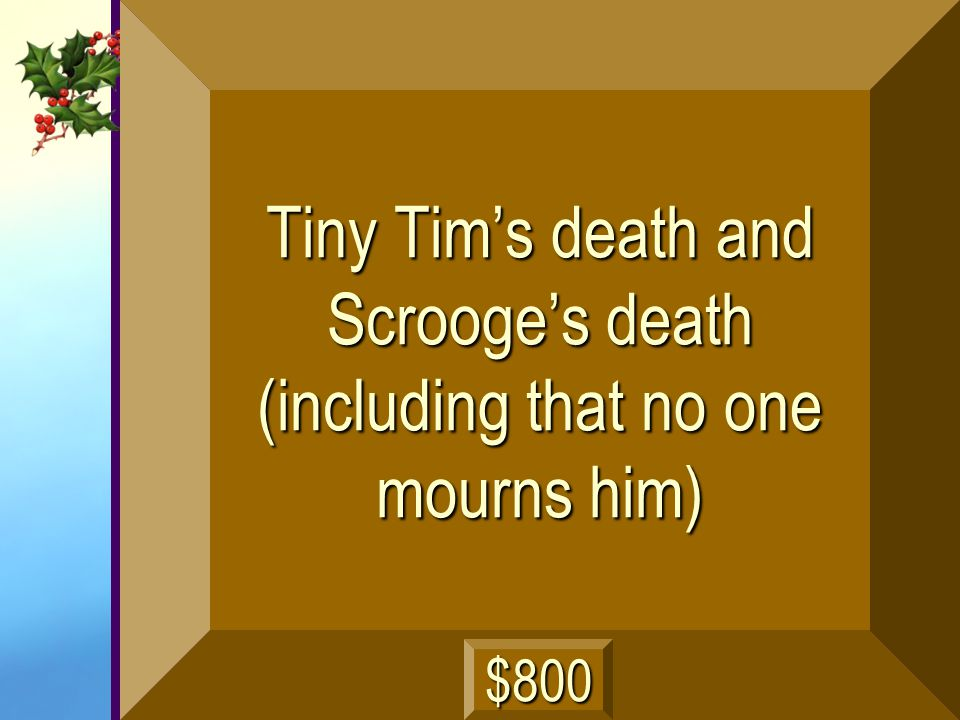 Tiny Tim's death and Scrooge's death (including that no one mourns him)