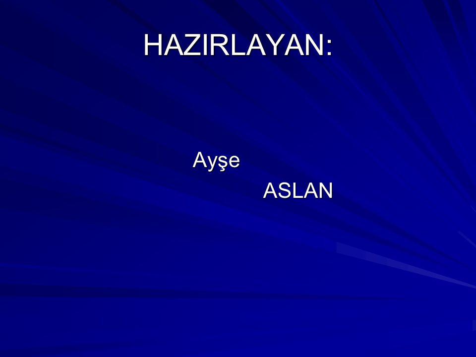 HAZIRLAYAN: Ayşe ASLAN