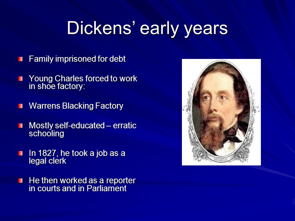Dickens' early years Family imprisoned for debt