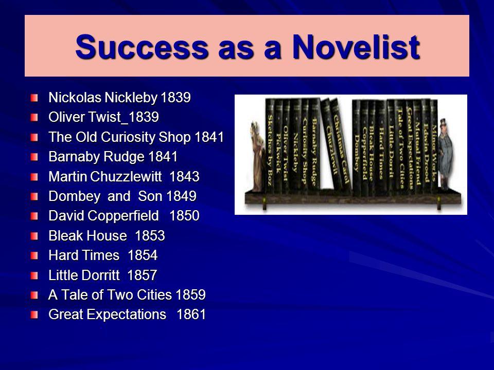 Success as a Novelist Nickolas Nickleby 1839 Oliver Twist 1839