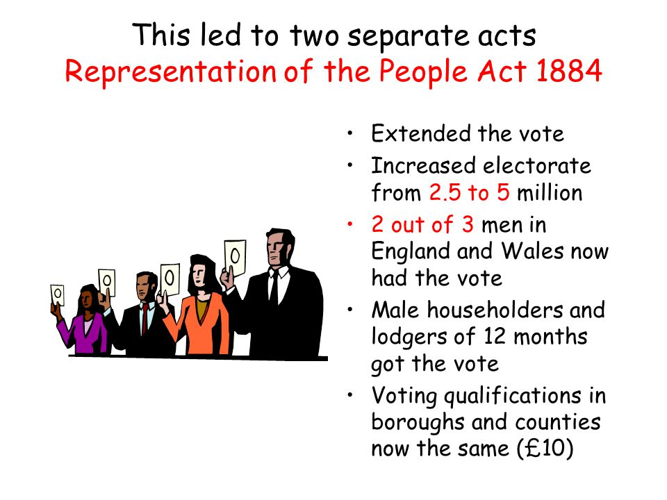This led to two separate acts Representation of the People Act 1884