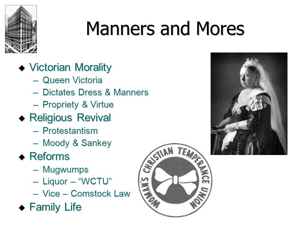 Manners and Mores Victorian Morality Religious Revival Reforms