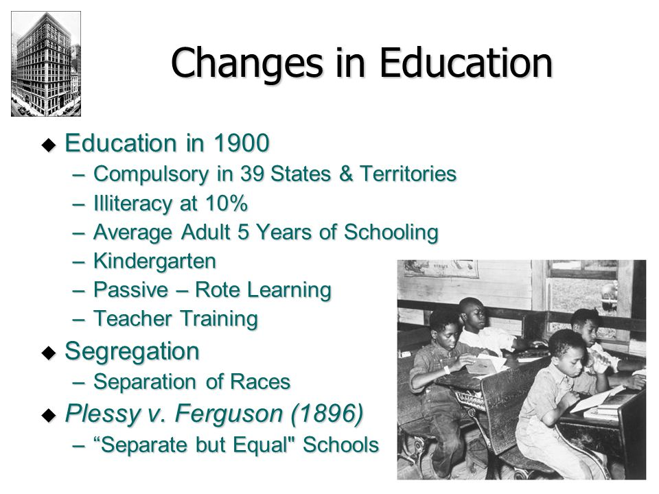 Changes in Education Education in 1900 Segregation